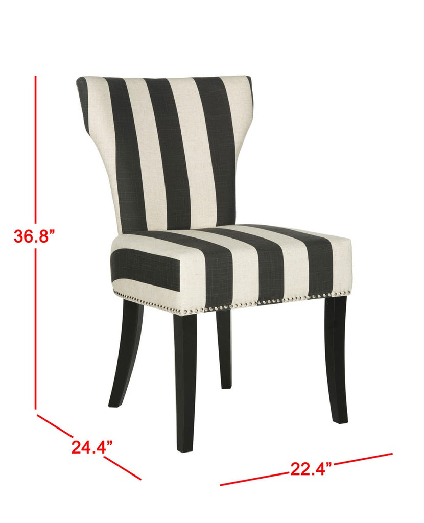 Safavieh - Set of 2 - Jappic Side Chairs 22''H Black White Espresso Wood NC Coating Birch CA Foam Poly FiberSteelPoly Linen MCR4706F-SET2 889048020207