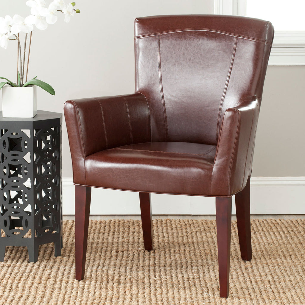 Safavieh Dale Arm Chair Brown Cherry Mahogany Wood NC Coating Birch CA Foam Poly Fiber Bicast Leather MCR4710A 683726751618