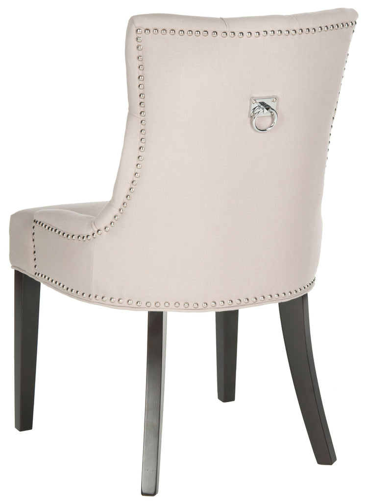 Safavieh - Set of 2 - Harlow Chair 19''H Tufted Ring Nail Heads Taupe Espresso Wood Birch CA Foam Poly Fiber Steel Linen MCR4716A-SET2 683726342007