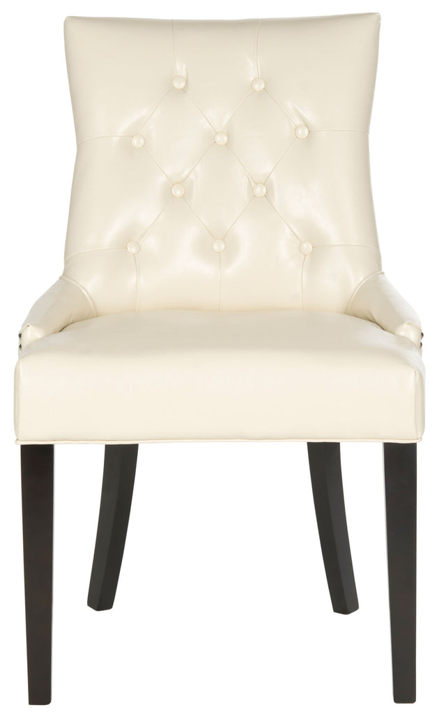 Safavieh - Set of 2 - Harlow Chair 19''H Tufted Ring Nail Heads Flat Cream Espresso Wood Birch Poly Steel Bicast Leather MCR4716B-SET2 683726342038