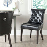 Safavieh - Set of 2 - Harlow Chair 19''H Tufted Ring Nail Heads Black Espresso Wood Birch Poly Fiber Steel Bicast Leather MCR4716C-SET2 683726342052