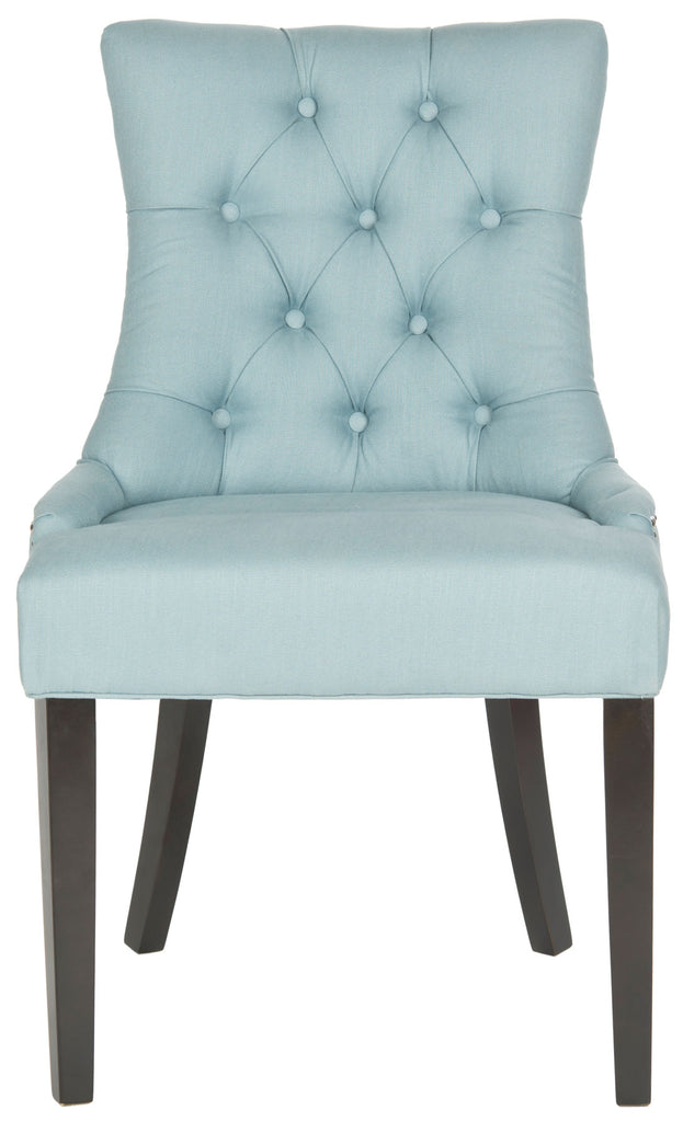 Safavieh - Set of 2 - Harlow Chair 19''H Tufted Ring Nail Head Blue Espresso Wood Birch CA Foam Poly Fiber Steel Cotton Linen MCR4716E-SET2 683726342137
