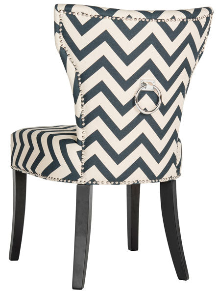 Safavieh - Set of 2 - Jappic Side Chair 20''H Ring Nail Heads Navy White Black Plywood CA Foam Poly Fiber Steel Cotton Linen MCR4721C-SET2 889048032033