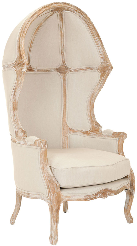 Safavieh Sabine Balloon Chair Linen Bleached Oak Natural Fabric Wood Couture MCR4900A 683726497509
