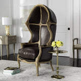 Safavieh Sabine Balloon Chair Leather Whiteed Brown Fabric Wood Oak Couture MCR4900D 889048283541