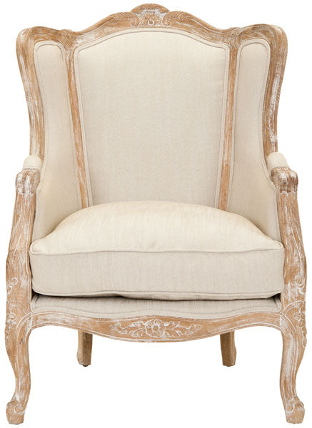 Safavieh Fallon Wing Chair Linen Bleached Oak Natural Fabric Wood Couture MCR4901A 683726497530