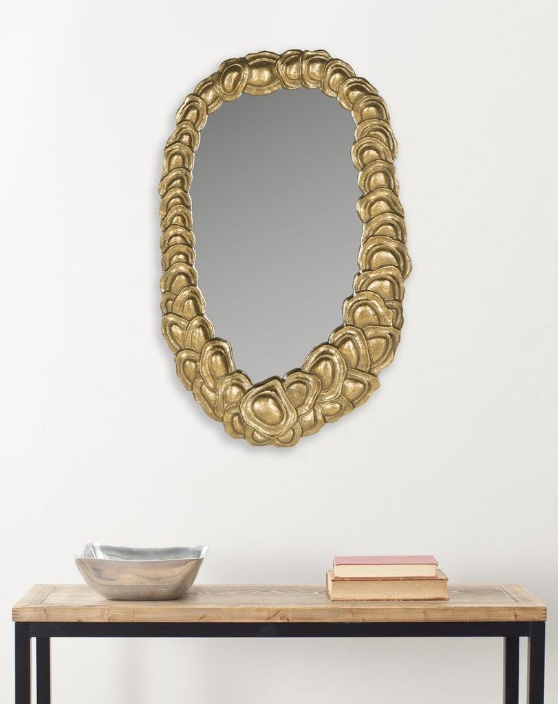 Safavieh Garland Mirror 12 x 19 Antique Gold Alum Glass Wood MIR4032A 683726730057