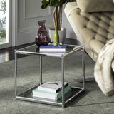 Safavieh Lilias End Table Glass Chrome Metal Plating Iron Tube MMT6001A 889048253223