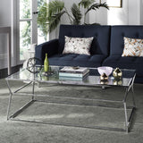 Safavieh Ellie Coffee Table Glass Chrome Metal Plating Iron Tube MMT6004A 889048253254