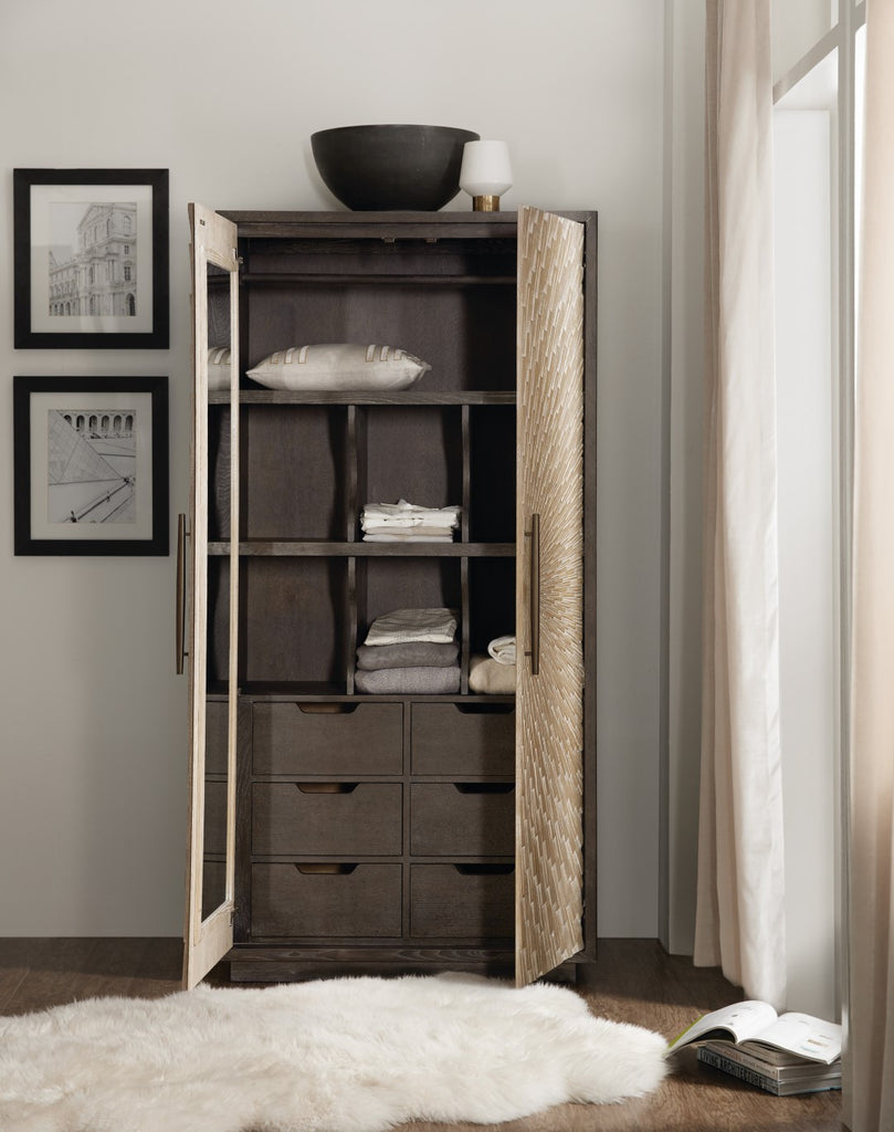 Hooker Furniture Miramar - Point Reyes Transitional Miramar Point Reyes Salvador Wardrobe in Oak Solids and Quarter Flaky Oak Veneers with Resin 6201-90013-MULTI