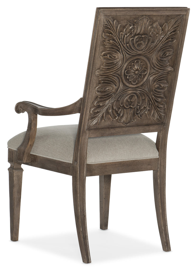 Hooker Furniture - Set of 2 - Woodlands Traditional-Formal Carved Back Arm Chair in Rubberwood, Plywood, Fabric, Foam and Resin 5820-75401-84