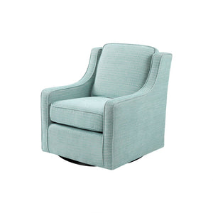 Harris Chenille Swivel Chair in Dusty Aqua