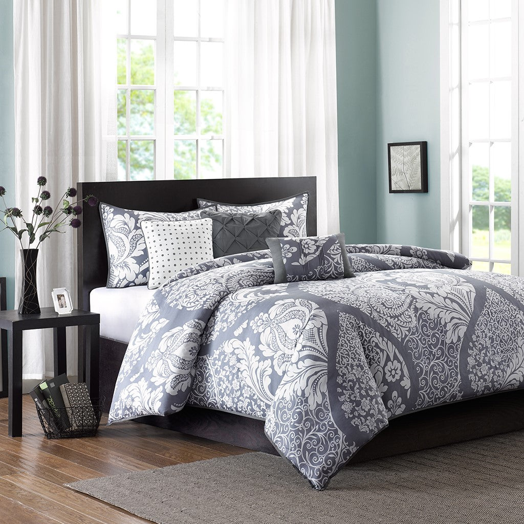Vienna 6 Piece Printed Duvet Cover Set Full Queen in Grey