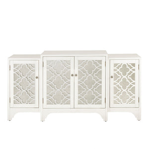 Verona Dining Buffet Server Quaterfoil Design Kitchen Storage Cabinet with Mirrored Doors in Cream