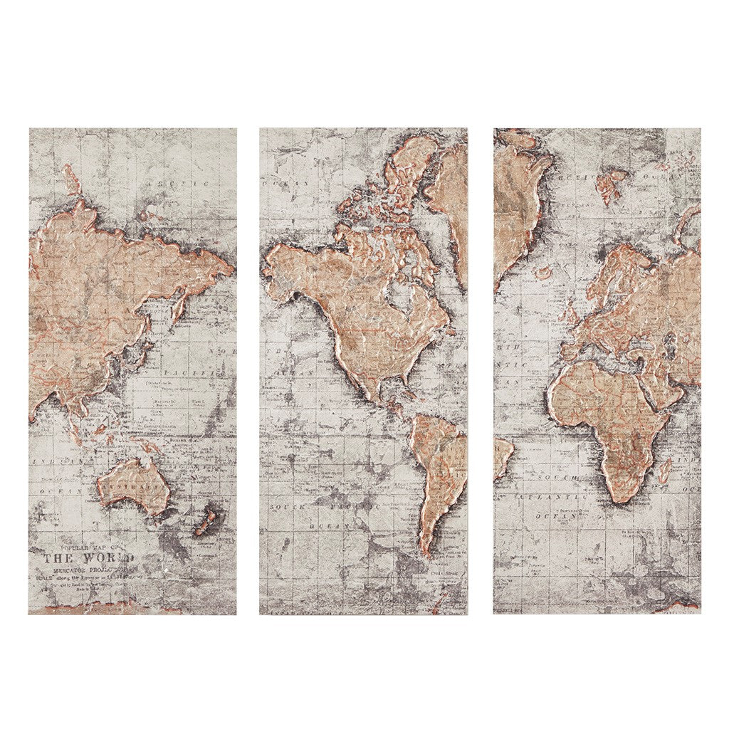Map of the World Printed Canvas with 30% Hand Brush Embellishment Set of 3 in Natural