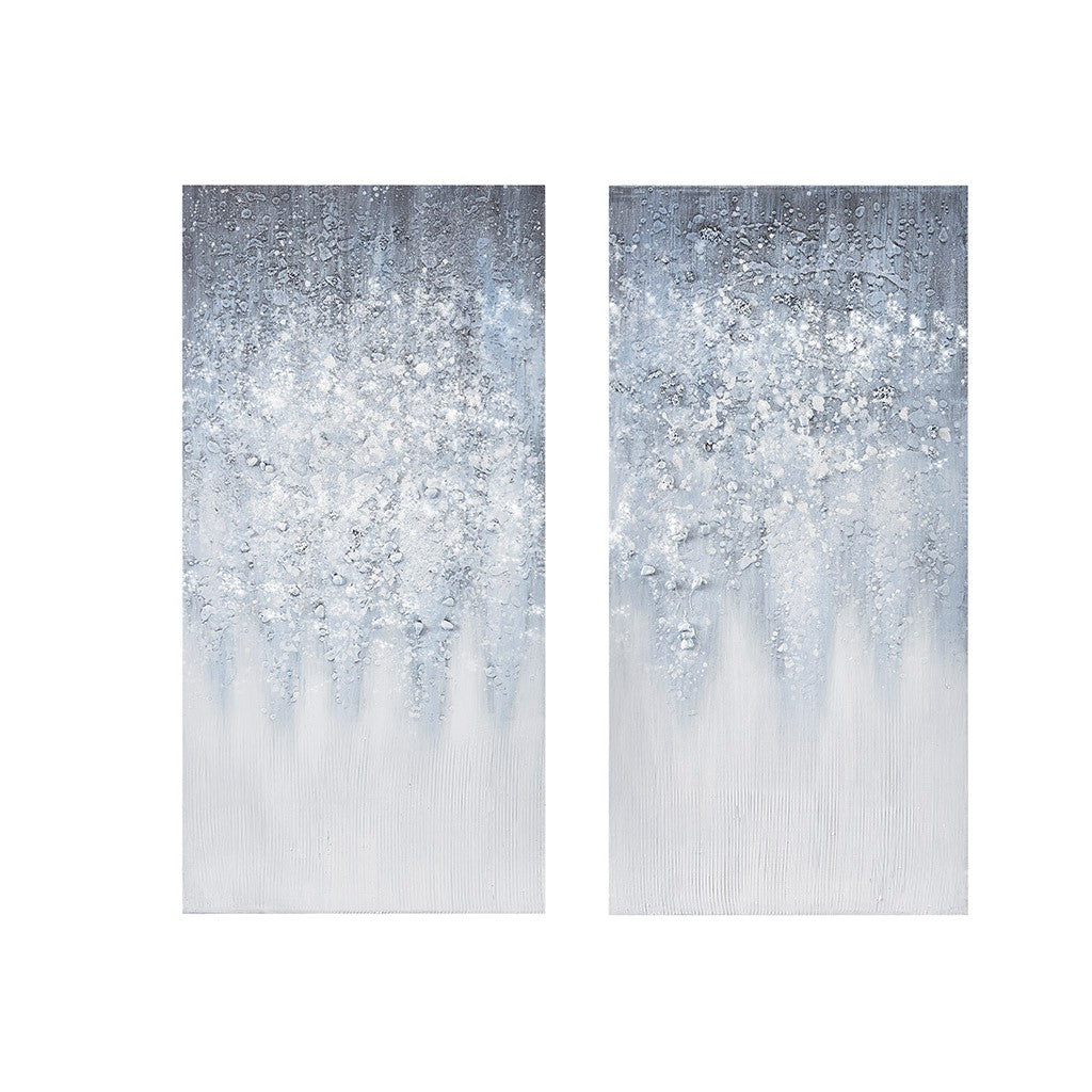 Winter Glaze Heavy Textured Canvas with Glitter Embellishment 2 Piece Set in Blue White