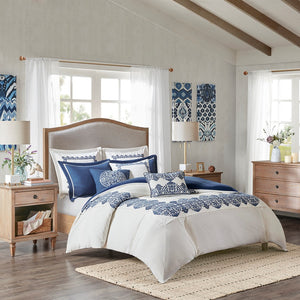 Indigo Sky Faux Linen Oversized Comforter 8 Piece Set Queen in Off White Blue