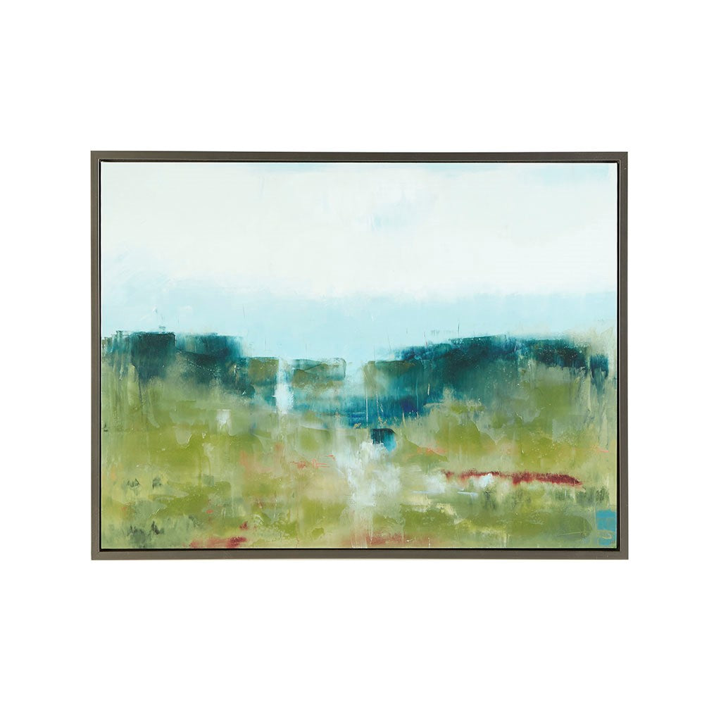 Morning Fields Green Hand Embellished Framed Canvas in
