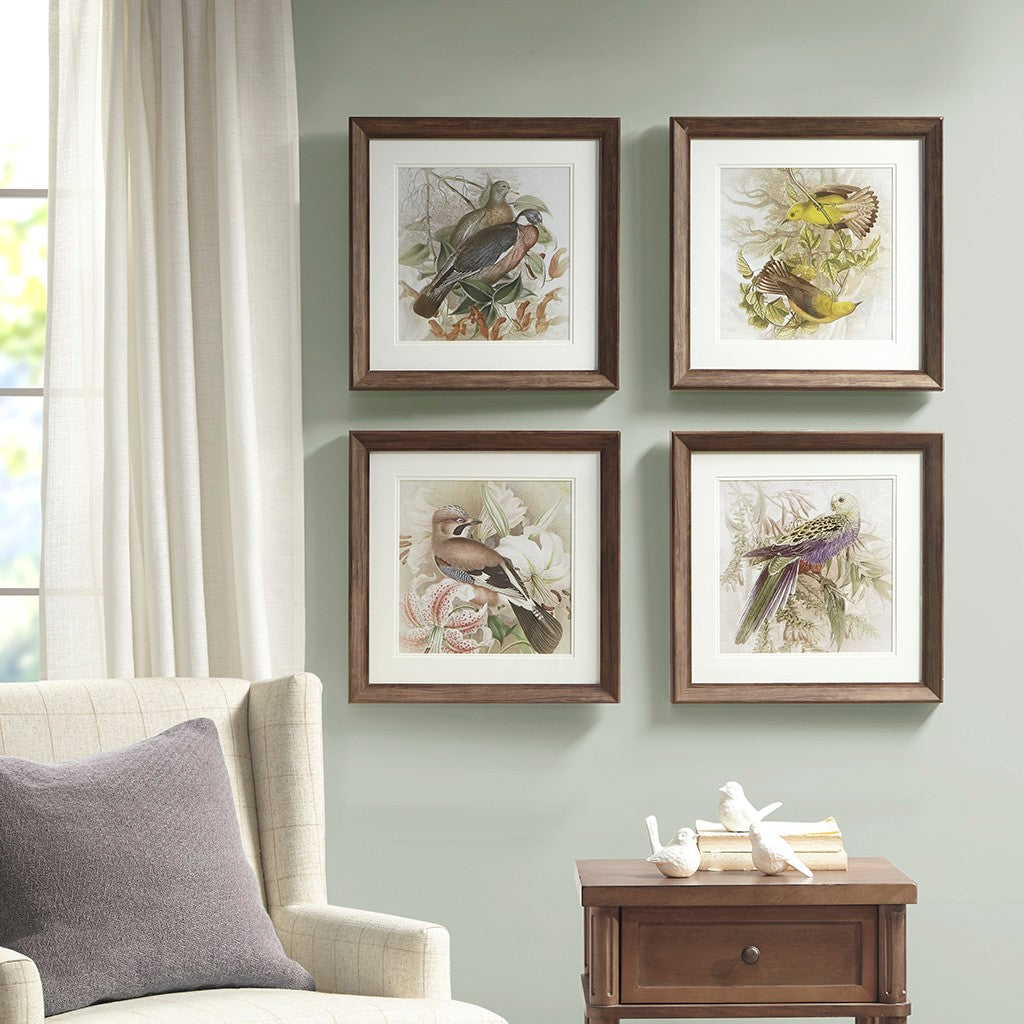 Pretty Bird Double Mat Framed Graphic 4 Piece Set in Multi Transitional Olliix