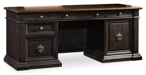 Hooker Furniture Treviso Traditional-Formal Computer Credenza in Spruce Solids with Rustic Pine Veneers 5374-10464