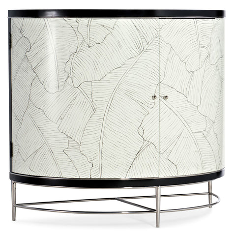 Hooker Furniture Melange Modern-Contemporary Collins Demilune Chest in Poplar and Hardwood Solids with Stainless Steel and Handpainting 638-85498-00