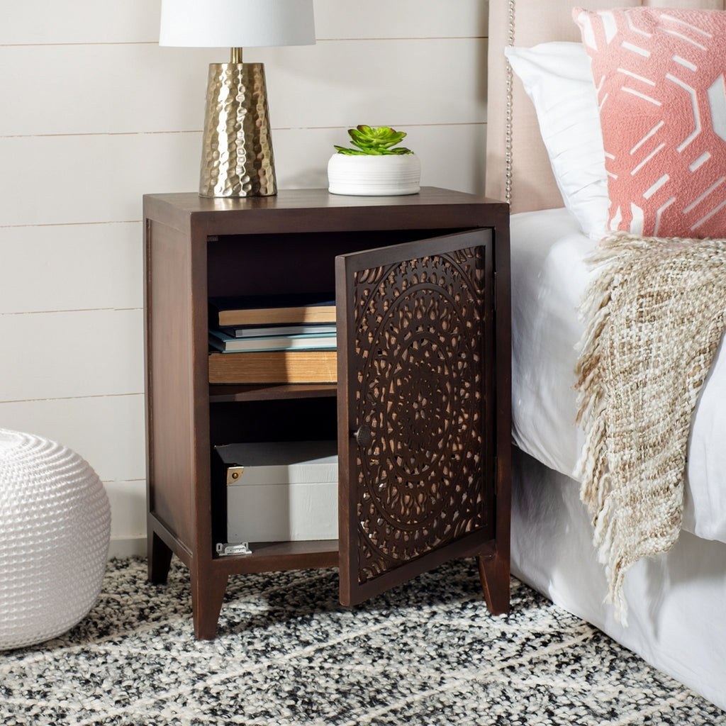 Safavieh Thea 1 Door Carved Nightstand Brown Wood NST5300A