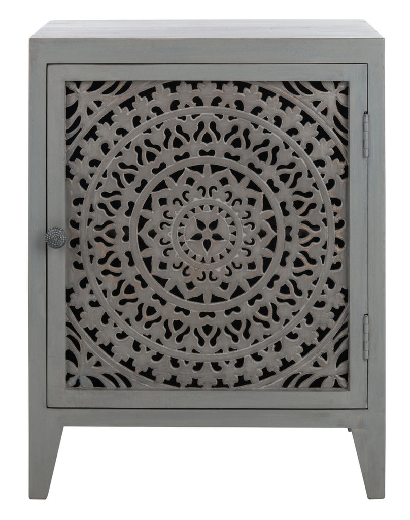 Safavieh Thea 1 Door Carved Nightstand Grey Walnut Wood NST5300B