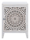 Safavieh Thea 1 Door Carved Nightstand White Wash Wood NST5300C