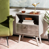 Safavieh Brandy 1 Drawer Textured Nightstand Grey Walnut Wood NST5301A
