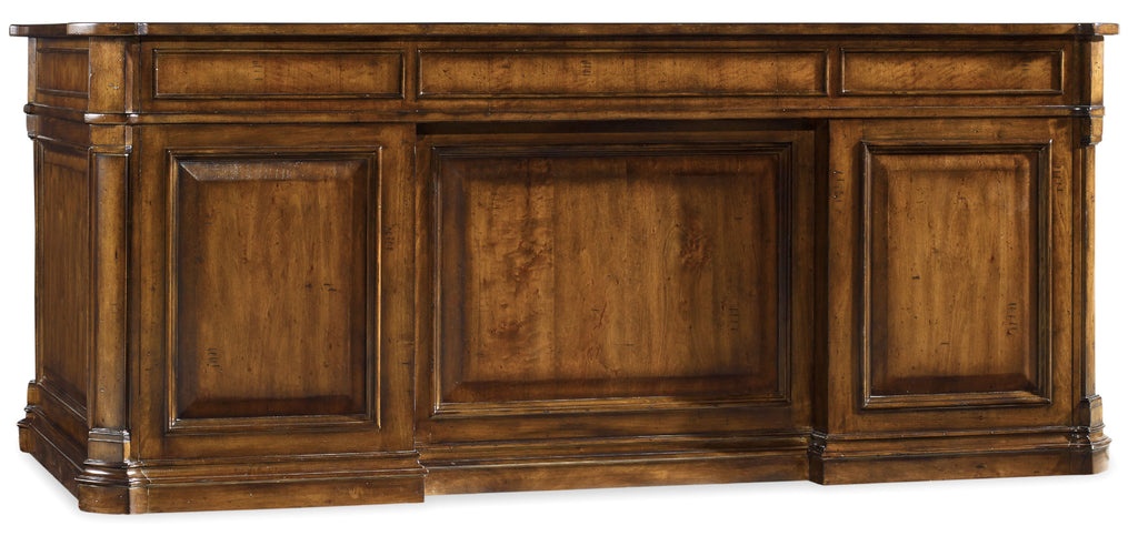Hooker Furniture Tynecastle Traditional-Formal Executive Desk in Poplar Solids and Figured Alder Veneers with High Quality Bonded Leather 5323-10563