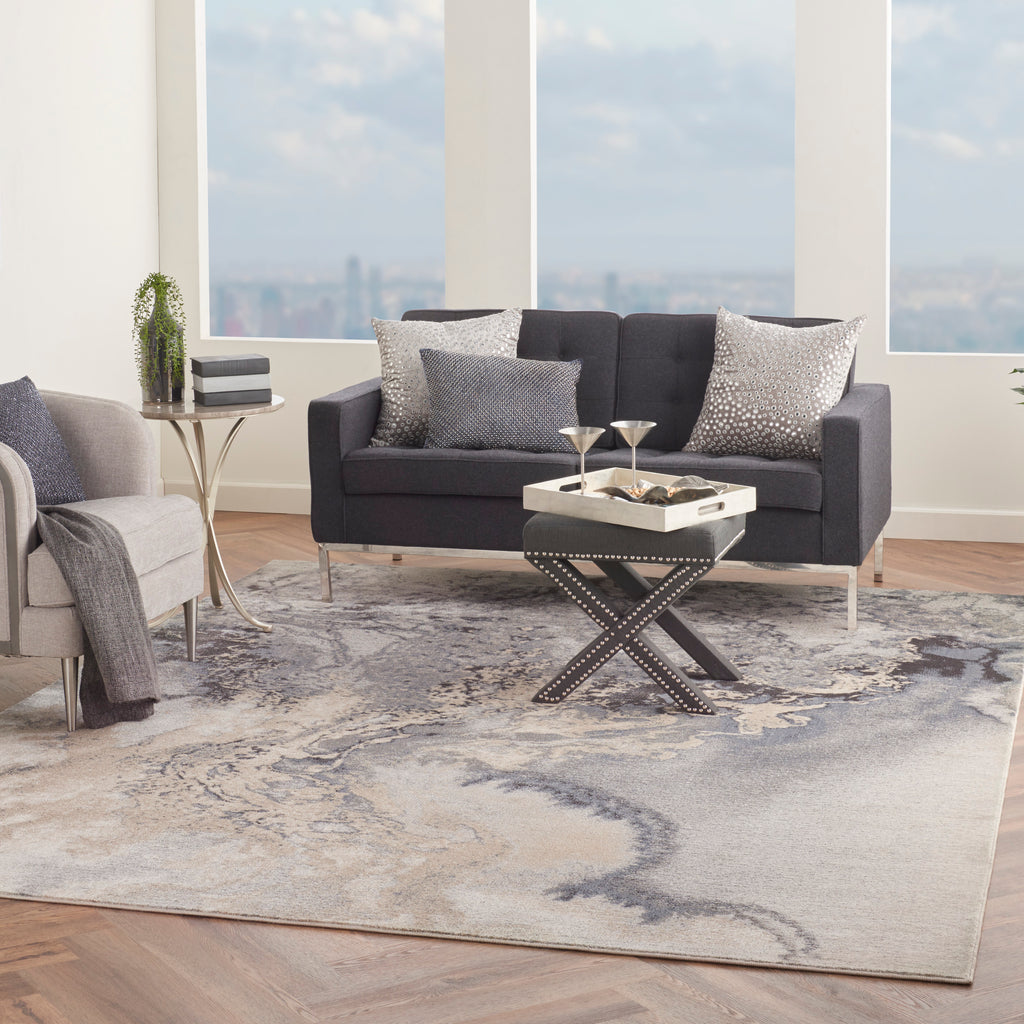"Maxell MAE08 Power Loomed 100% Polyester Grey 7'10"" x 10'6"" Rectangle Rug"