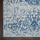 Damask DAS06 Power-loomed 83% Polyester, 14% Cotton, 3% Rayon Blue 9' x 12' Rectangle Rug