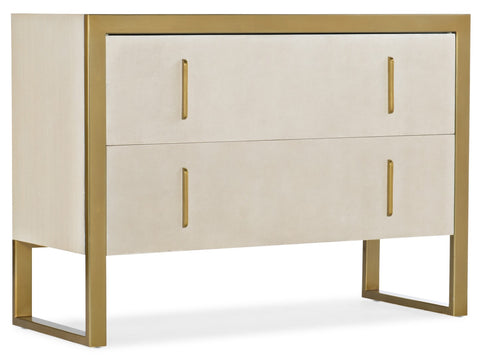 Hooker Furniture Melange Modern-Contemporary Aria Two-Drawer Chest in Hardwood Solids and Veneers with Recoon Inlay with Metal Handle and Base 638-85494-95