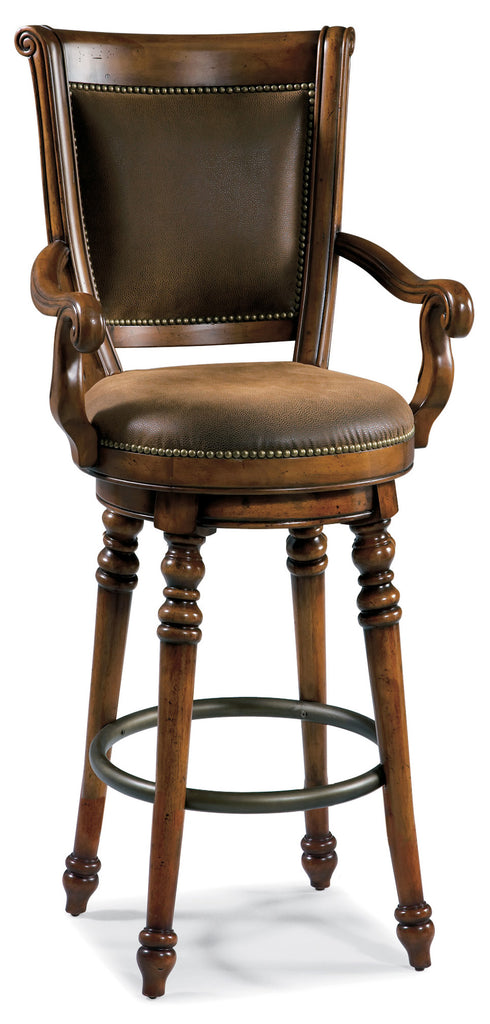 Hooker Furniture Waverly Place Traditional-Formal Memory Swivel Bar Stool in Hardwood Solids, Cherry Veneers, Fabric, Metal Footrest 366-75-560