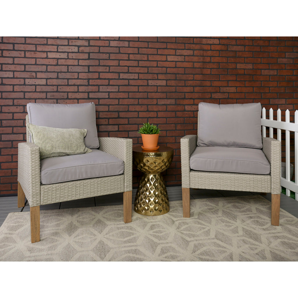 Walker Edison Modern Patio Rattan Chairs, Set of 2 in Rattan, Eucalyptus Wood, Upholstery OR2CHEUS 842158103901
