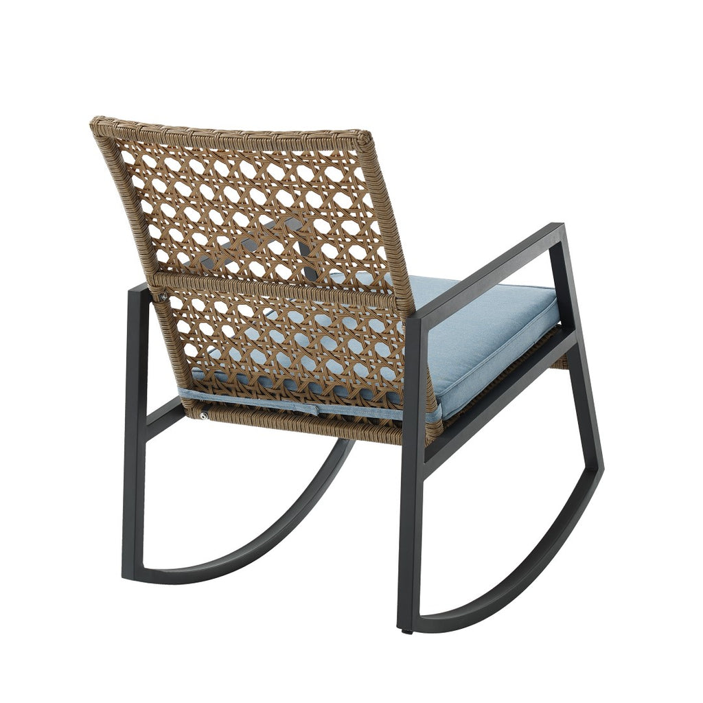 Walker Edison Modern Patio Rattan Rocking Chair - Light Brown/Blue ORLIZRC1BB