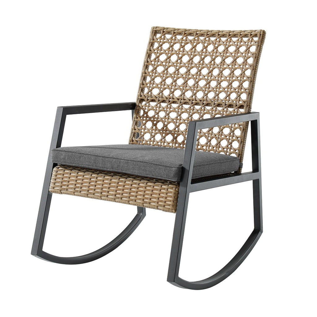 Walker Edison Modern Patio Rattan Rocking Chair - Light Brown/Grey ORLIZRC1BG