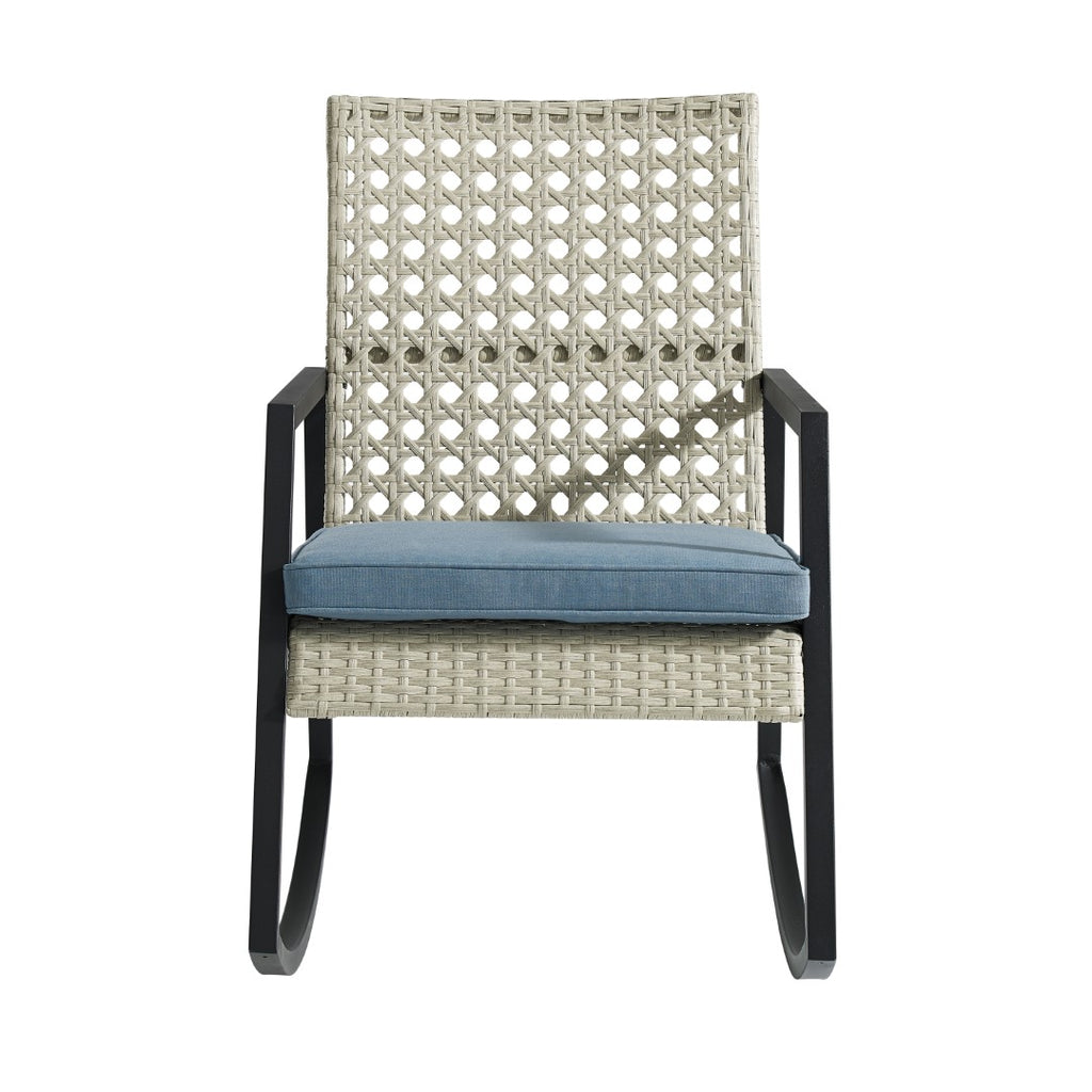 Walker Edison Modern Patio Rattan Rocking Chair - Light Grey/Blue in Resin Rattan, Powder Coated Metal And Uv Resistant Olefin Fabric Cushion ORLIZRC1GB 840035300740