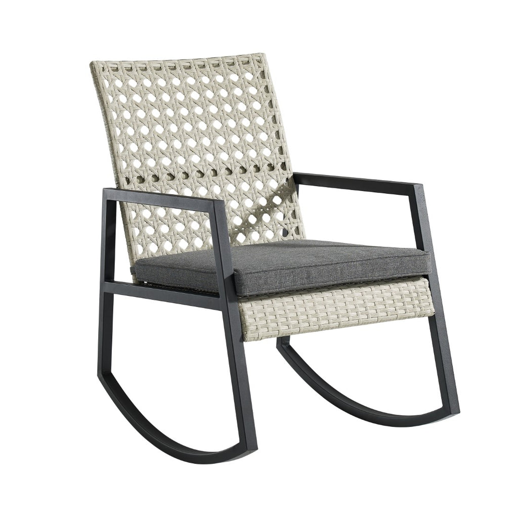 Walker Edison Modern Patio Rattan Rocking Chair - Light Grey/Grey in Resin Rattan, Powder Coated Metal And Uv Resistant Olefin Fabric Cushion ORLIZRC1GG 840035300733