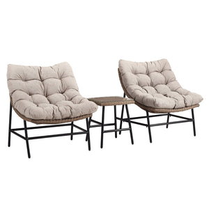Walker Edison Patio Chair Set with Side Table in Aluminum, Pvc Rattan, Tempered Glass ORRSCSNL 842158140760