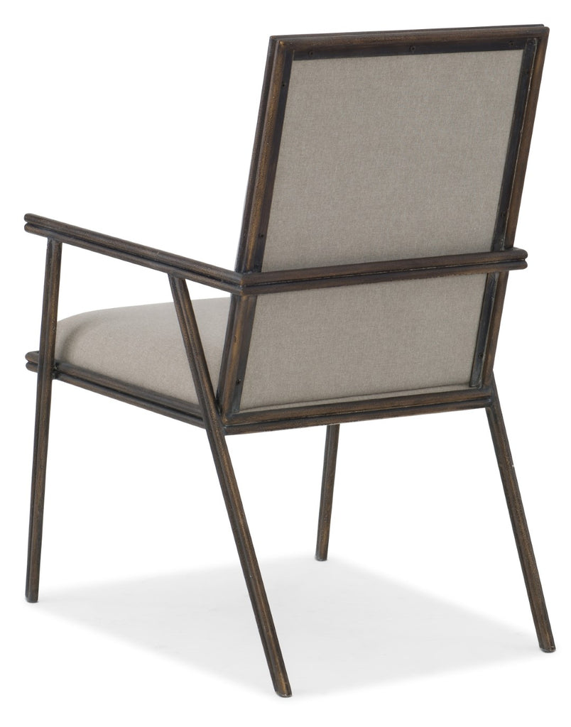 Hooker Furniture Miramar - Carmel Transitional Miramar Carmel Fairview Metal Upholstered Arm Chair in Metal and Fabric 6200-75401-GRY