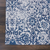 Damask DAS06 Power Loomed 83% Polyester, 14% Cotton, 3% Rayon Ivory/Navy 6' x 9' Rectangle Rug