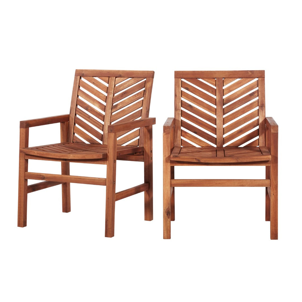 Walker Edison Patio Wood Chairs, Set of 2 - Brown in Solid Acacia Wood OWC2VINBR 842158185105