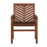 Walker Edison Patio Wood Chairs, Set of 2 - Dark Brown in Solid Acacia Wood OWC2VINDB 842158185099