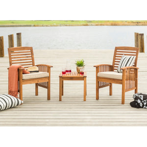 Walker Edison Patio Chairs and Side Table - Brown in Acacia Wood, Polyester OWC3CGBR 842158141958