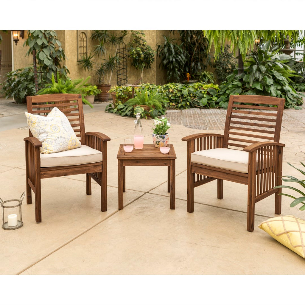 Walker Edison Patio Chairs and Side Table - Dark Brown in Acacia Wood, Polyester OWC3CGDB 842158142023