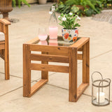 Walker Edison Modern Patio End Table - Brown in Acacia Wood, Glass OWOSSTBR 842158132352