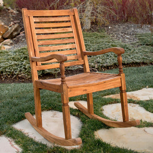 Walker Edison Solid Acacia Wood Outdoor Patio Rocking Chair - Brown in Solid Acacia Wood OWRCBR 842158103697
