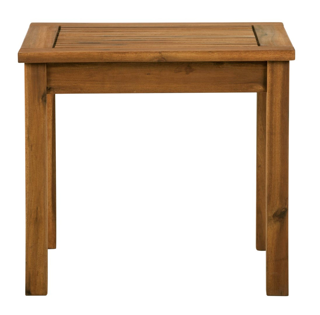 Walker Edison Patio Wood Side Table - Brown in Solid Acacia Hardwood OWSSTBR 842158132390