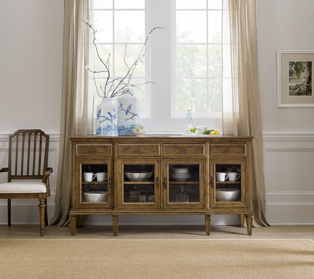 Hooker Furniture Ballantyne Traditional-Formal Buffet in Alder Solids and Alder Veneers with Seeded Glass 5840-75900-80